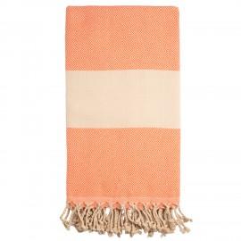 Orange/beige badehåndklæde