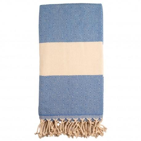 Blåt/beige badehåndklæde