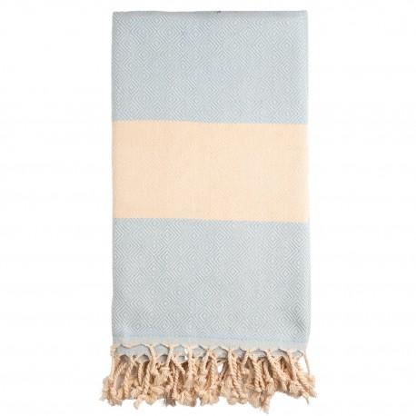 Lyseblåt/beige badehåndklæde