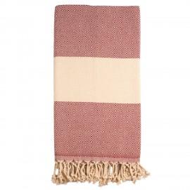 Bordeaux/beige badehåndklæde