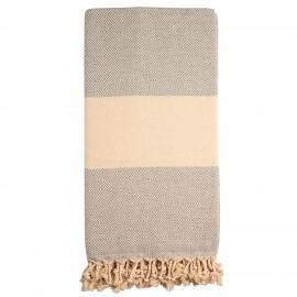 Gråt/beige badehåndklæde