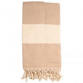 Lyserødt/beige badehåndklæde