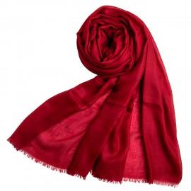 Stort bordeauxrødt cashmere sjal 200 x 140 cm