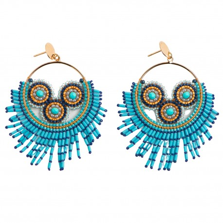 Øreringe af halvædelsten og blå miyuki-perler