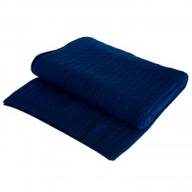 Marineblåt kabelstrikket cashmere tæppe