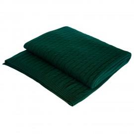 Flaskegrønt cashmere tæppe