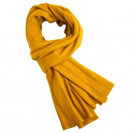 Karrygult strikket halstørklæde i cashmere