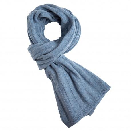 Dueblåt strikket halstørklæde i cashmere