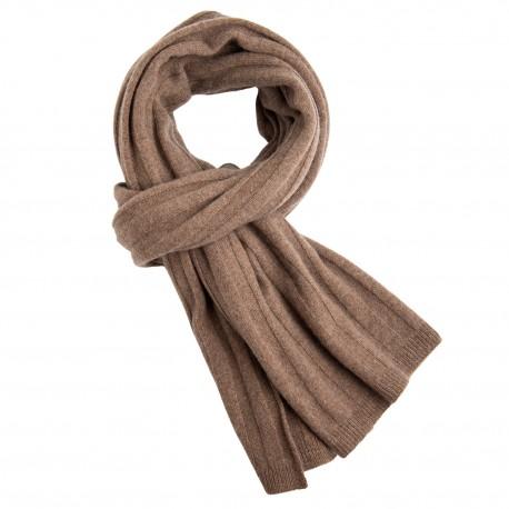 Taupegråt strikket halstørklæde i cashmere