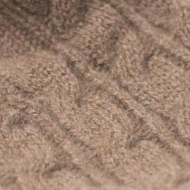 Taupegrå strikhue med kvast i cashmere
