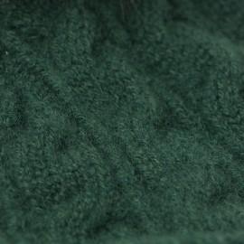 Flaskegrøn strikhue med kvast i cashmere