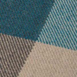 Håndvævet ternet plaid i blå, beige og grå