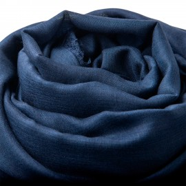 Ekstra stort cashmere/silke sjal i marineblå