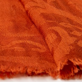 Rust orange jacquard vævet cashmere sjal