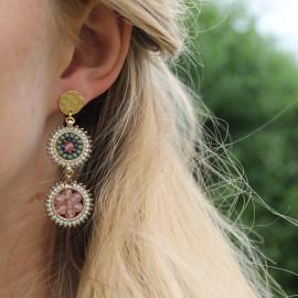 Øreringe rosa/grøn