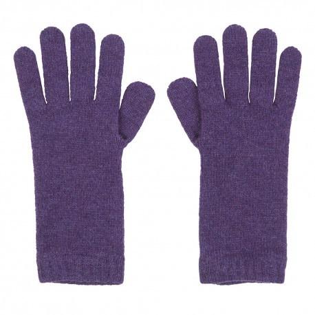 Violette strikkede cashmere handsker