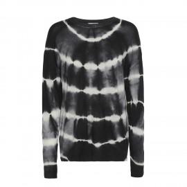 Oversize sweater i sort/hvid tie-dye