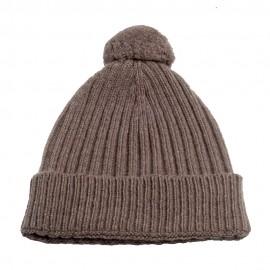 Gråbrun strikket hue i cashmere