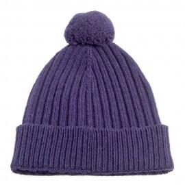 Violet strikket hue i cashmere