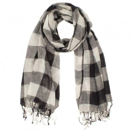 Ternet sort og hvidt tørklæde i uld