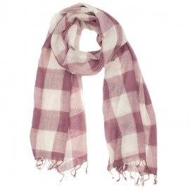 Ternet rosa og hvidt tørklæde i uld