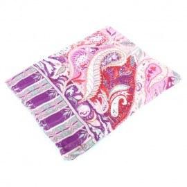 Tørklæde i rosa og violet mønster