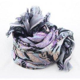 Tørklæde i violet og gråt mønster