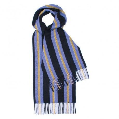Violet og sort stribet tørklæde i lambswool