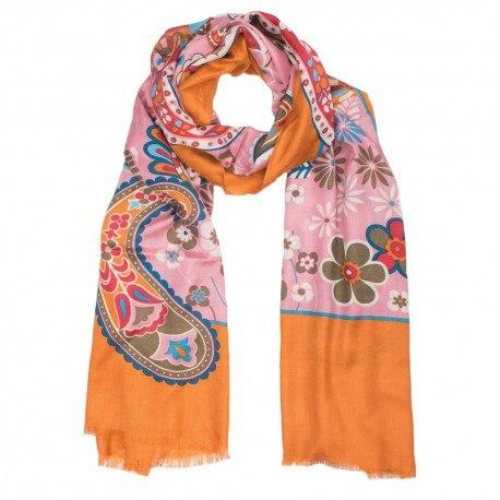 Orange silketørklæde