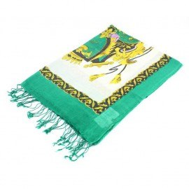 Grønt tørklæde med print i silke og uld