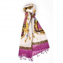 Lilla tørklæde med print i silke og uld