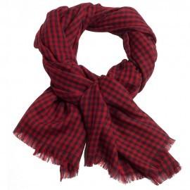 Småternet pashmina sjal i rød og navy
