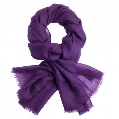 Mørklilla dobbeltrådet twill pashmina sjal