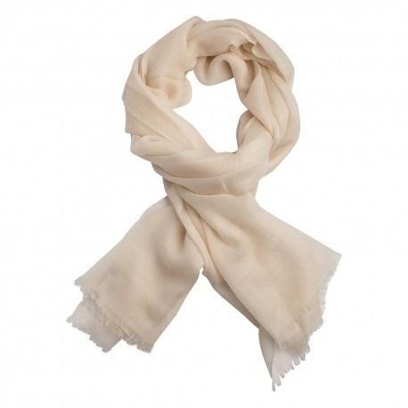Råhvidt dobbeltrådet twill pashmina sjal