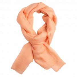 Ferskenfarvet dobbeltrådet twill pashmina sjal