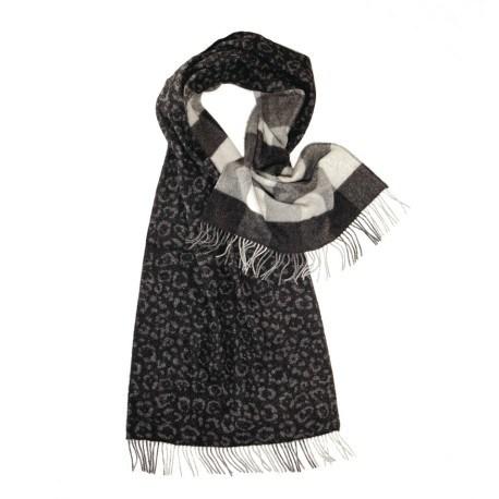 Sort halstørklæde med dyreprint og tern