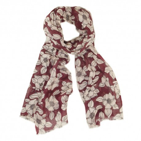 Rødt uldtørklæde med hvidt blomsterprint