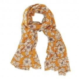 Orange uldtørklæde med blomstermønster