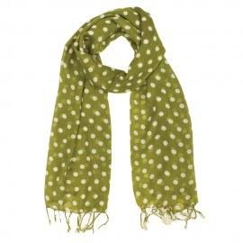 Limegrønt tørklæde med hvide prikker