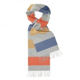 Lysegråt halstørklæde med striber i rød/gul/blå