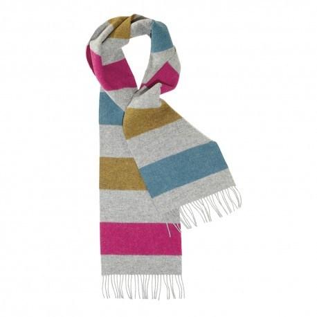 Gråt halstørklæde med striber i gul/blå/violet