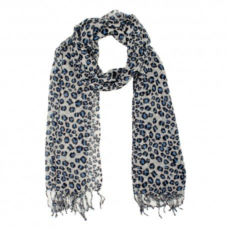 Uldtørklæde med dyreprint i blåt