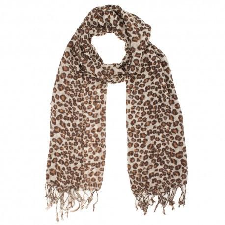 Uldtørklæde med brunt dyreprint