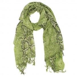 Uldtørklæde med olivengrønt slangeprint