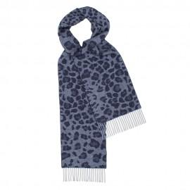 Mørkeblåt halstørklæde med dyreprint