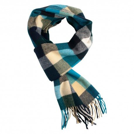 Ternet halstørklæde i blå nuancer