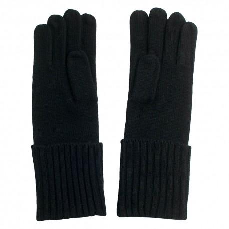 Sorte strikkede cashmere handsker