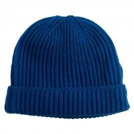 Mørkeblå beanie i strikket cashmere