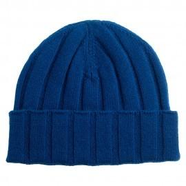 Mørkeblå strikket hue i cashmere