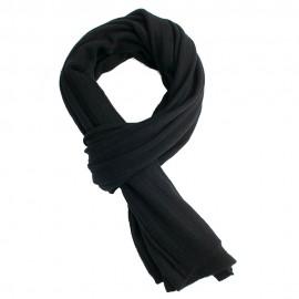 Sort strikket halstørklæde i cashmere